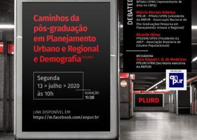 Caminhos da pós-graduação em Planejamento Urbano e Regional e Demografia (PLURD) – 13/07/2020